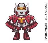 cute robot symbol standing line ... | Shutterstock .eps vector #1135738058