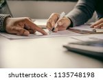 business team working with... | Shutterstock . vector #1135748198