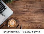 office stuff with notepad ... | Shutterstock . vector #1135751945