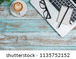 office stuff with notepad ... | Shutterstock . vector #1135752152