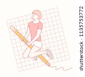 a girl riding giant pencil.... | Shutterstock .eps vector #1135753772