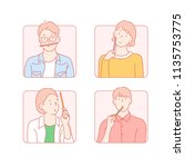 the various expressions holding ... | Shutterstock .eps vector #1135753775