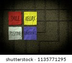 sticky note with positive word... | Shutterstock . vector #1135771295
