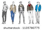 fashion man. set of fashionable ... | Shutterstock .eps vector #1135780775