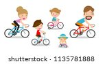 set of diverse family riding... | Shutterstock .eps vector #1135781888