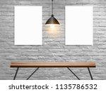 vector mock up poster on white...   Shutterstock .eps vector #1135786532