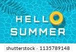 hello summer. yellow inflatable ... | Shutterstock .eps vector #1135789148