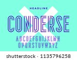 line condensed alphabet and... | Shutterstock .eps vector #1135796258