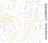 hand drawn floral seamless... | Shutterstock .eps vector #1135804505