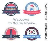 korean welcome stickers set in...   Shutterstock .eps vector #1135810892