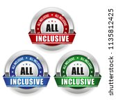 three all inclusive badges with ... | Shutterstock .eps vector #1135812425