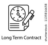 a contract document with clock ... | Shutterstock .eps vector #1135816658