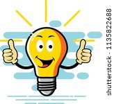 bulb character two thumb style  ... | Shutterstock .eps vector #1135822688