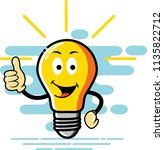 bulb character thumb style  can ... | Shutterstock .eps vector #1135822712