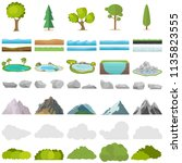 trees  stones  lakes  mountains ... | Shutterstock .eps vector #1135823555