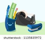 a set of happy cartoon vector... | Shutterstock .eps vector #1135835972