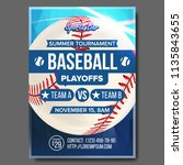 baseball poster. sports bar... | Shutterstock . vector #1135843655
