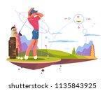 male golfer playing golf ... | Shutterstock .eps vector #1135843925