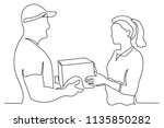 continuous line man the courier ... | Shutterstock .eps vector #1135850282