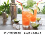 zombie cocktail with rum ... | Shutterstock . vector #1135853615