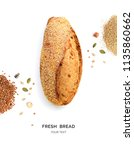 creative layout made of bread... | Shutterstock . vector #1135860662