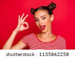 close up portrait of happy girl ... | Shutterstock . vector #1135862258