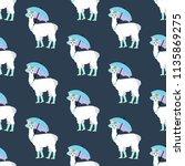 llama under umbrella seamless... | Shutterstock . vector #1135869275
