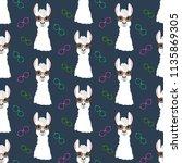 llama in round glasses seamless ... | Shutterstock . vector #1135869305