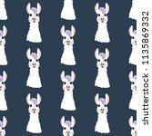 llama head seamless pattern on... | Shutterstock . vector #1135869332