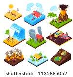 natural disaster isometric set  | Shutterstock .eps vector #1135885052