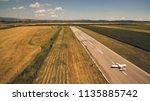 aerial view of a light aircraft ... | Shutterstock . vector #1135885742