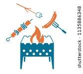 brazier  zephyr  kebab and... | Shutterstock .eps vector #1135886348