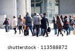 a crowd moving against a... | Shutterstock . vector #113588872