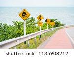 steep hill descent use low gear ...   Shutterstock . vector #1135908212