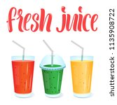 fresh juices menu template with ... | Shutterstock .eps vector #1135908722