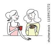 cute women enjoying their free... | Shutterstock .eps vector #1135917272