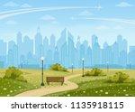 summer city park panorama... | Shutterstock .eps vector #1135918115