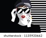 fashion woman in style pop art. ... | Shutterstock .eps vector #1135920662