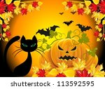 orange background with pumpkins | Shutterstock .eps vector #113592595