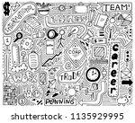 modern monochrome doodle poster ... | Shutterstock .eps vector #1135929995