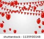red balloons  confetti concept. ... | Shutterstock .eps vector #1135930148
