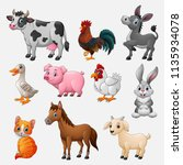 Stock vector farm animal collection set on white background 1135934078