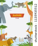 african safari animals frame ... | Shutterstock .eps vector #1135935512