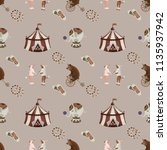 vintage circus pattern... | Shutterstock . vector #1135937942