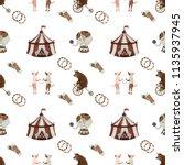 vintage circus pattern... | Shutterstock . vector #1135937945