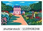 sunny day in the garden near... | Shutterstock .eps vector #1135938248