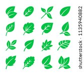 green leaves icons. vector leaf ... | Shutterstock .eps vector #1135940882