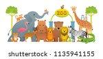 group of wild animals  zoo ... | Shutterstock .eps vector #1135941155