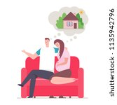 young couple and dream about... | Shutterstock .eps vector #1135942796
