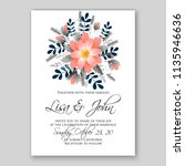 floral wedding invitation or... | Shutterstock .eps vector #1135946636
